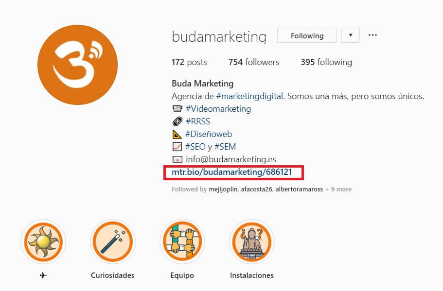 varios enlaces en instagram